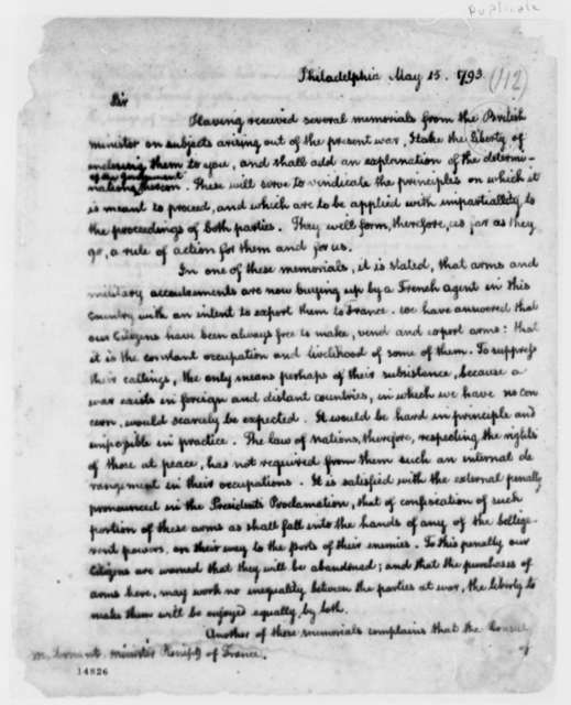 Thomas Jefferson to Jean Baptiste Ternant, May 15, 1793, Incomplete
