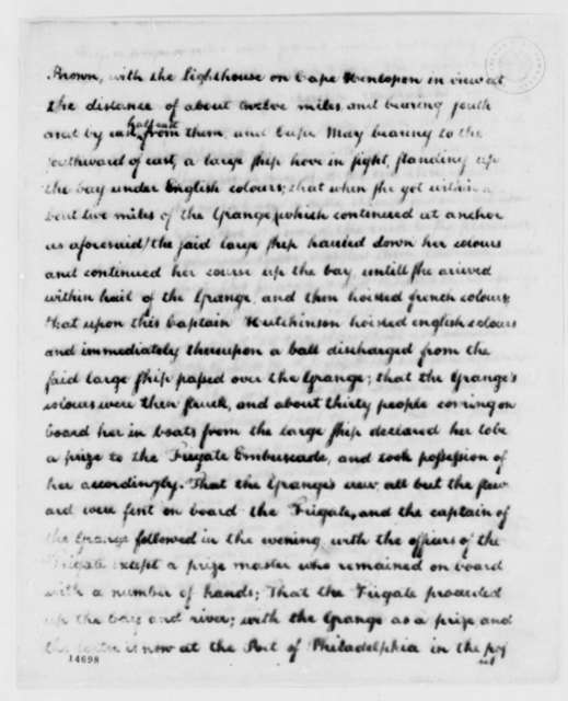 Thomas Jefferson to Jean Baptiste Ternant, May 3, 1793, with Depositions