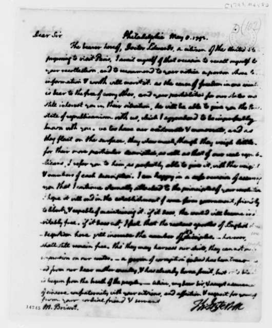 Thomas Jefferson to Jean P. Brissot de Warville, May 8, 1793, with Copy