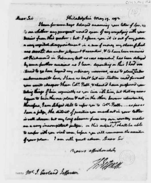 Thomas Jefferson to John Garland Jefferson, May 19, 1793
