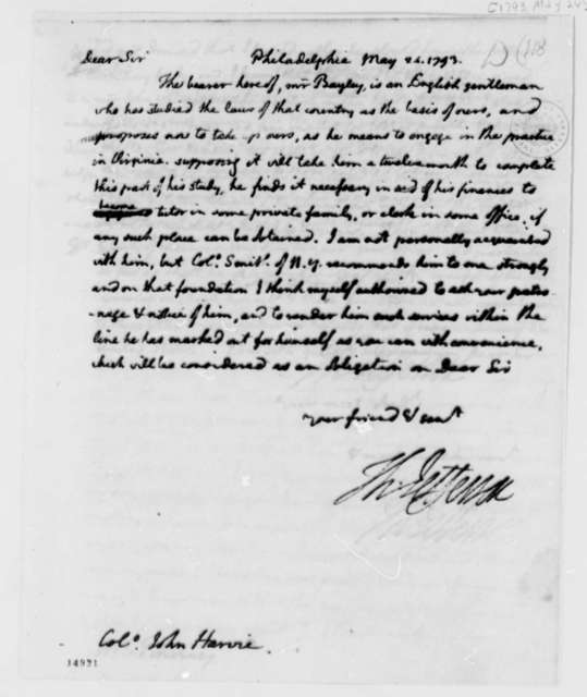 Thomas Jefferson to John Harvie, May 24, 1793, with Copy