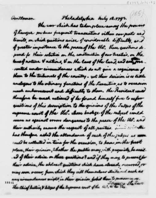 Thomas Jefferson to John Jay and Chief Justices of the Supreme Court, July 18, 1793