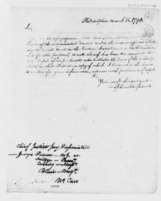 Thomas Jefferson to John Jay, March 16, 1793, also William Paterson, James Wilson, William Cushing, John Blair