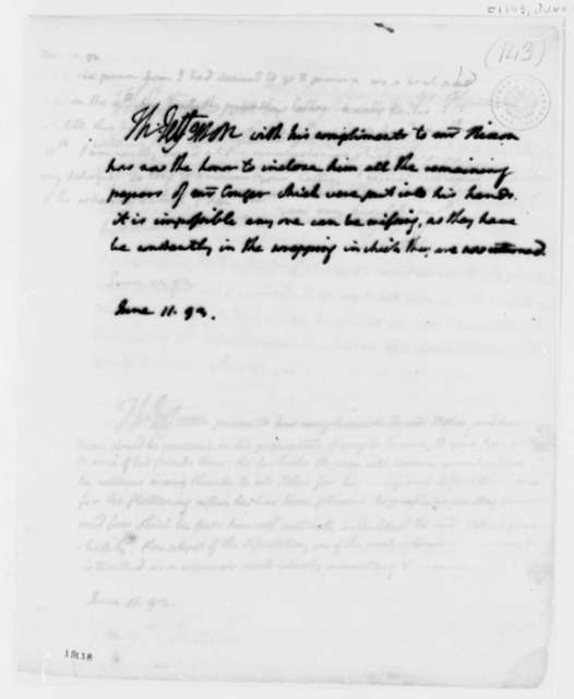 Thomas Jefferson to John Nixon, June 11, 1793
