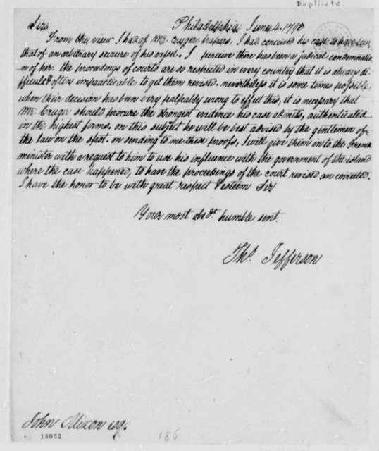 Thomas Jefferson to John Nixon, June 4, 1793, with Copy