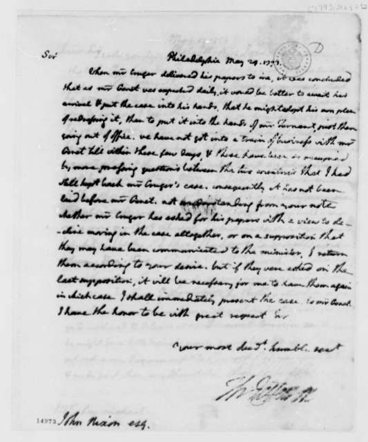 Thomas Jefferson to John Nixon, May 29, 1793, with Copy