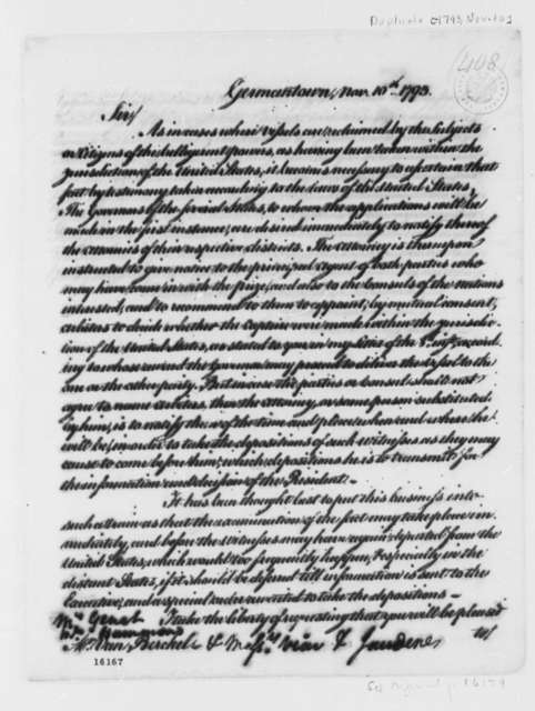 Thomas Jefferson to Josef de Viar and Josef de Jaudenes, November 10, 1793, with Copies to George Hammond, Edmond Charles Genet, and Franco Petrus van Berckel
