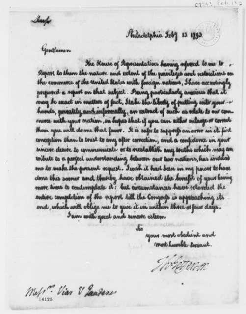 Thomas Jefferson to Josef de Viar, February 13, 1793, with Report