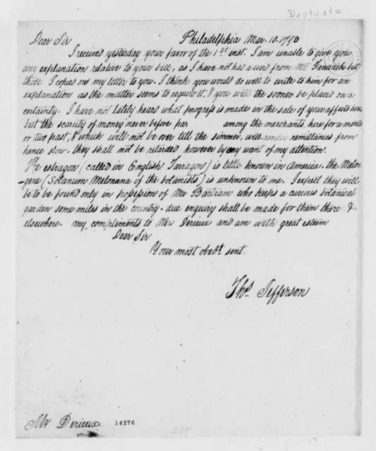 Thomas Jefferson to Justin Pierre Plumard Derieux, March 10, 1793, with Copy