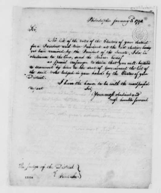 Thomas Jefferson to Kentucky District Judge, January 3, 1793
