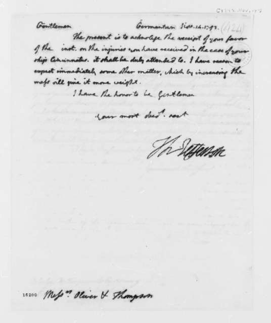 Thomas Jefferson to Oliver and Thompson, November 14, 1793