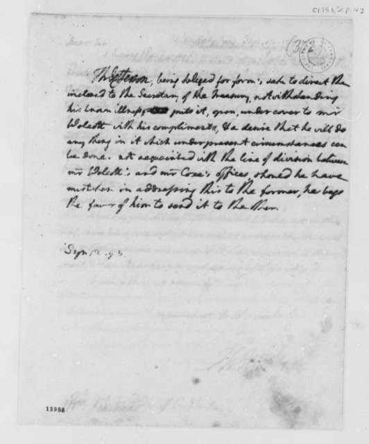 Thomas Jefferson to Oliver Wolcott, September 12, 1793