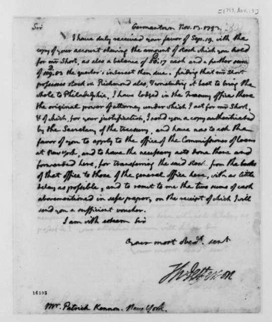 Thomas Jefferson to Patrick Kennon, November 13, 1793
