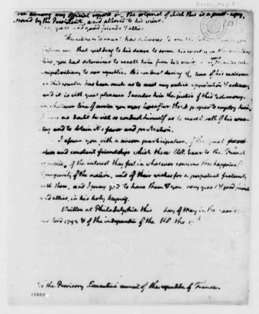 Thomas Jefferson to Provisory Executive Council of France, May 1793
