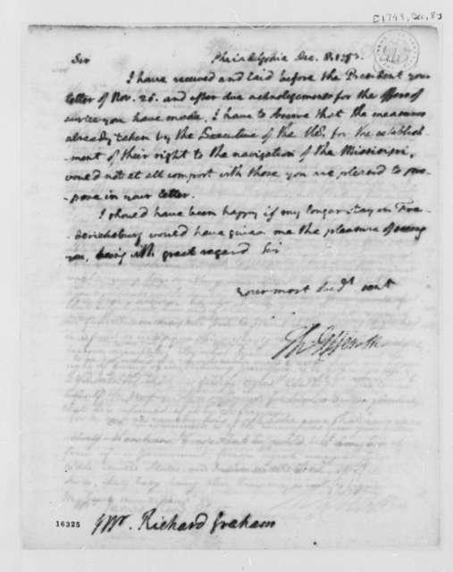 Thomas Jefferson to Richard Graham, December 8, 1793