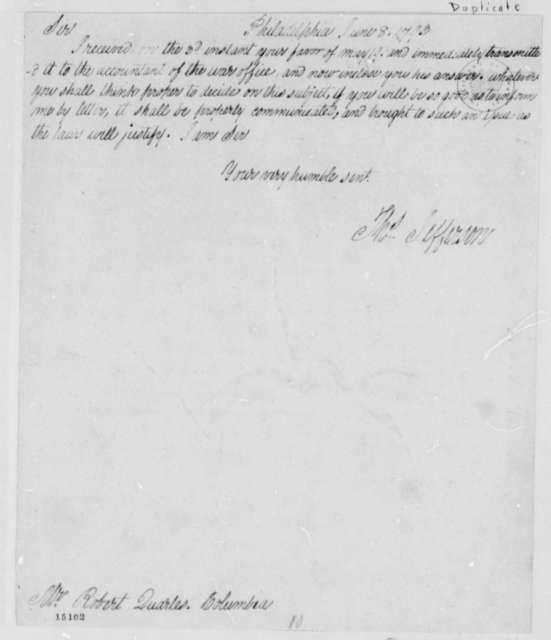 Thomas Jefferson to Robert Quarles, June 8, 1793, with Copy