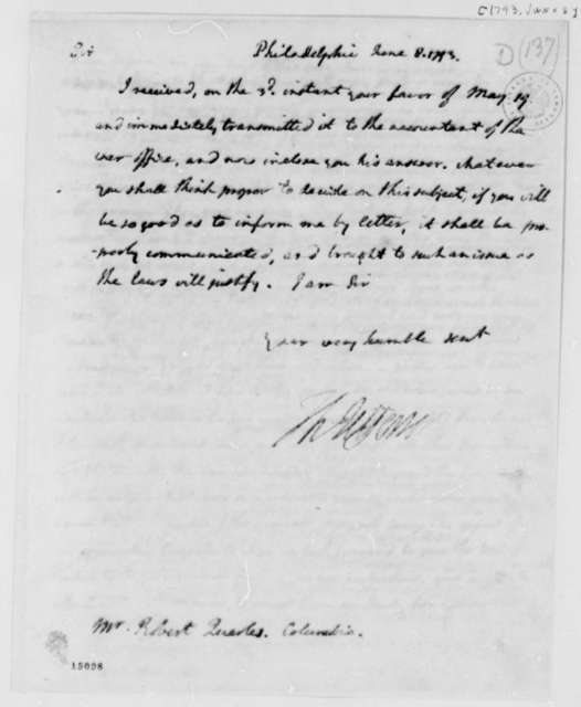 Thomas Jefferson to Robert Quarles, June 8, 1793, with Copy