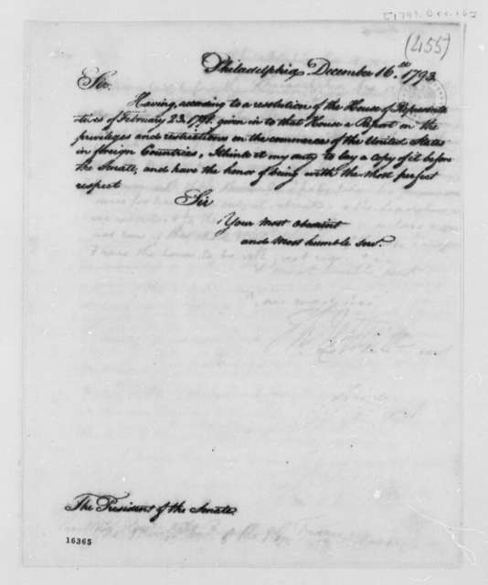 Thomas Jefferson to Senate, December 16, 1793, Report