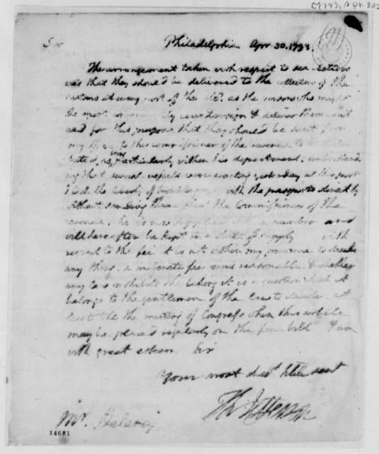 Thomas Jefferson to Sharp Delany, April 30, 1793, Partly Illegible