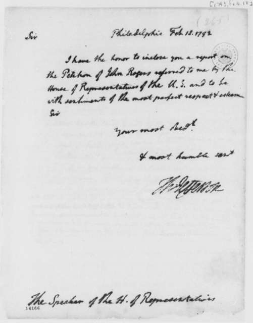 Thomas Jefferson to Theodore Sedgewick, February 18, 1793