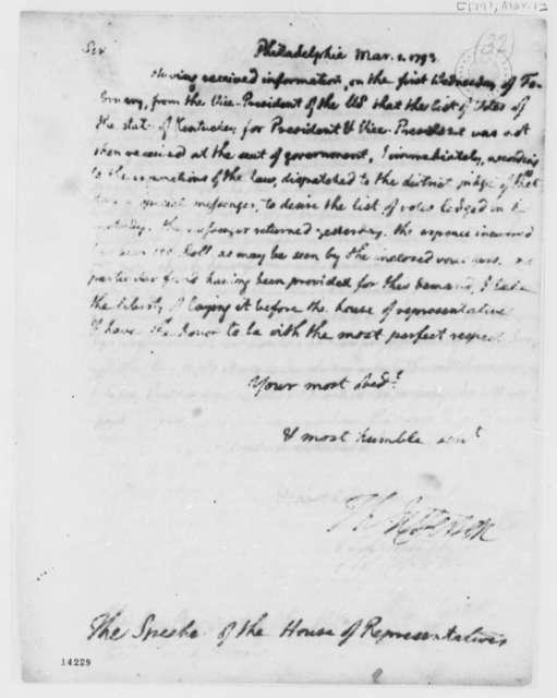 Thomas Jefferson to Theodore Sedgewick, March 1, 1793
