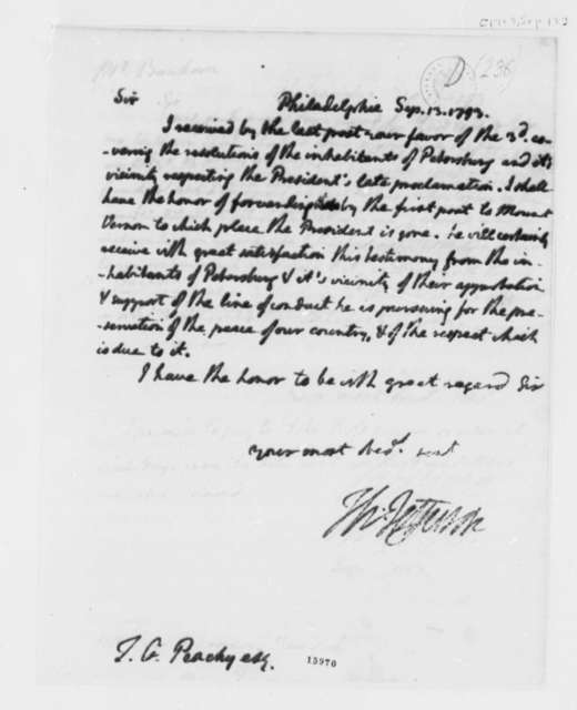 Thomas Jefferson to Thomas Griffin Peach, September 13, 1793