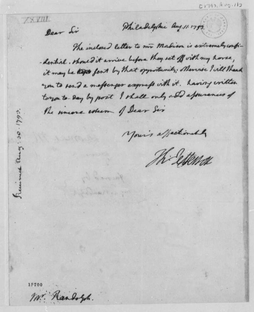 Thomas Jefferson to Thomas Mann Randolph, Jr., August 11, 1793, with Copy