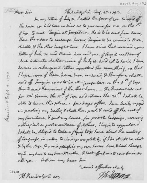 Thomas Jefferson to Thomas Mann Randolph, Jr., August 25, 1793