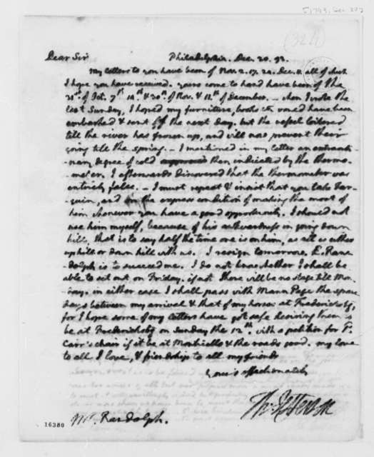 Thomas Jefferson to Thomas Mann Randolph, Jr., December 20, 1793