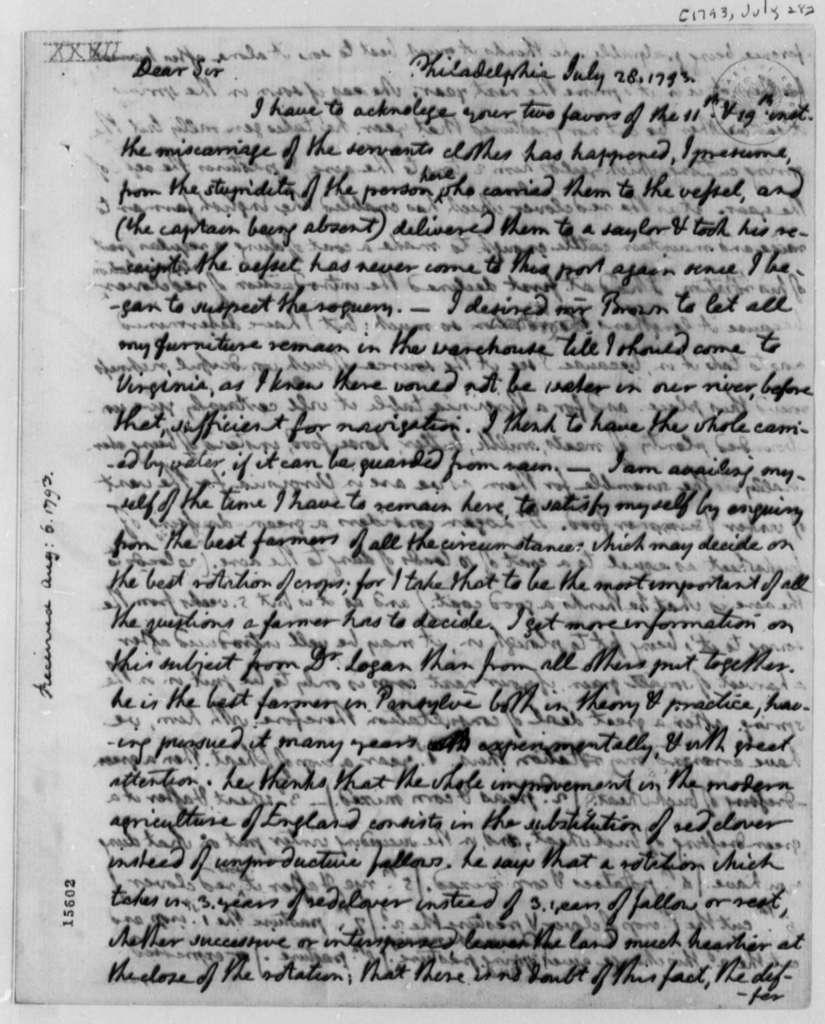 Thomas Jefferson to Thomas Mann Randolph, Jr., July 28, 1793, with Copy