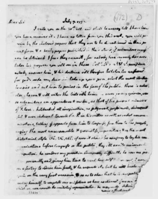 Thomas Jefferson to Thomas Mann Randolph, Jr., July 7, 1793