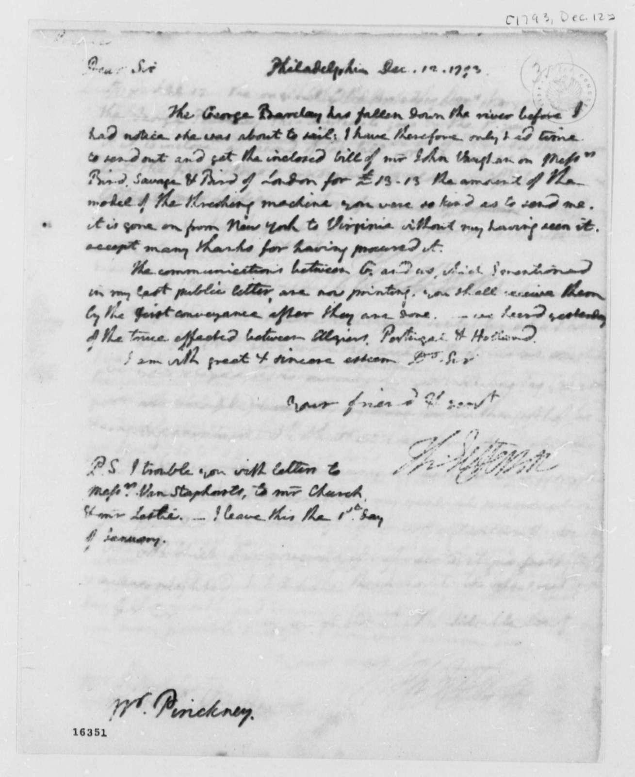 Thomas Jefferson to Thomas Pinckney, December 12, 1793