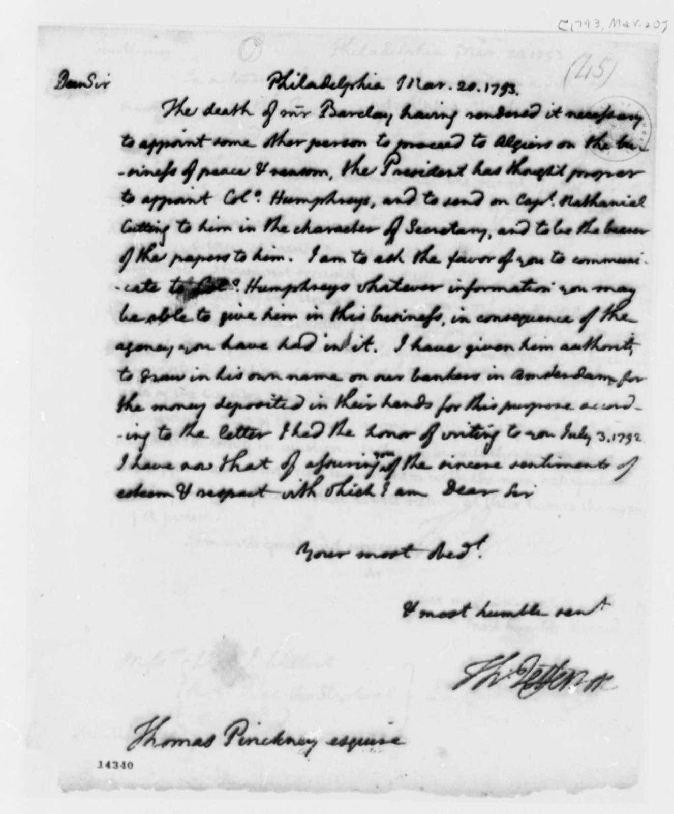 Thomas Jefferson to Thomas Pinckney, March 20, 1793