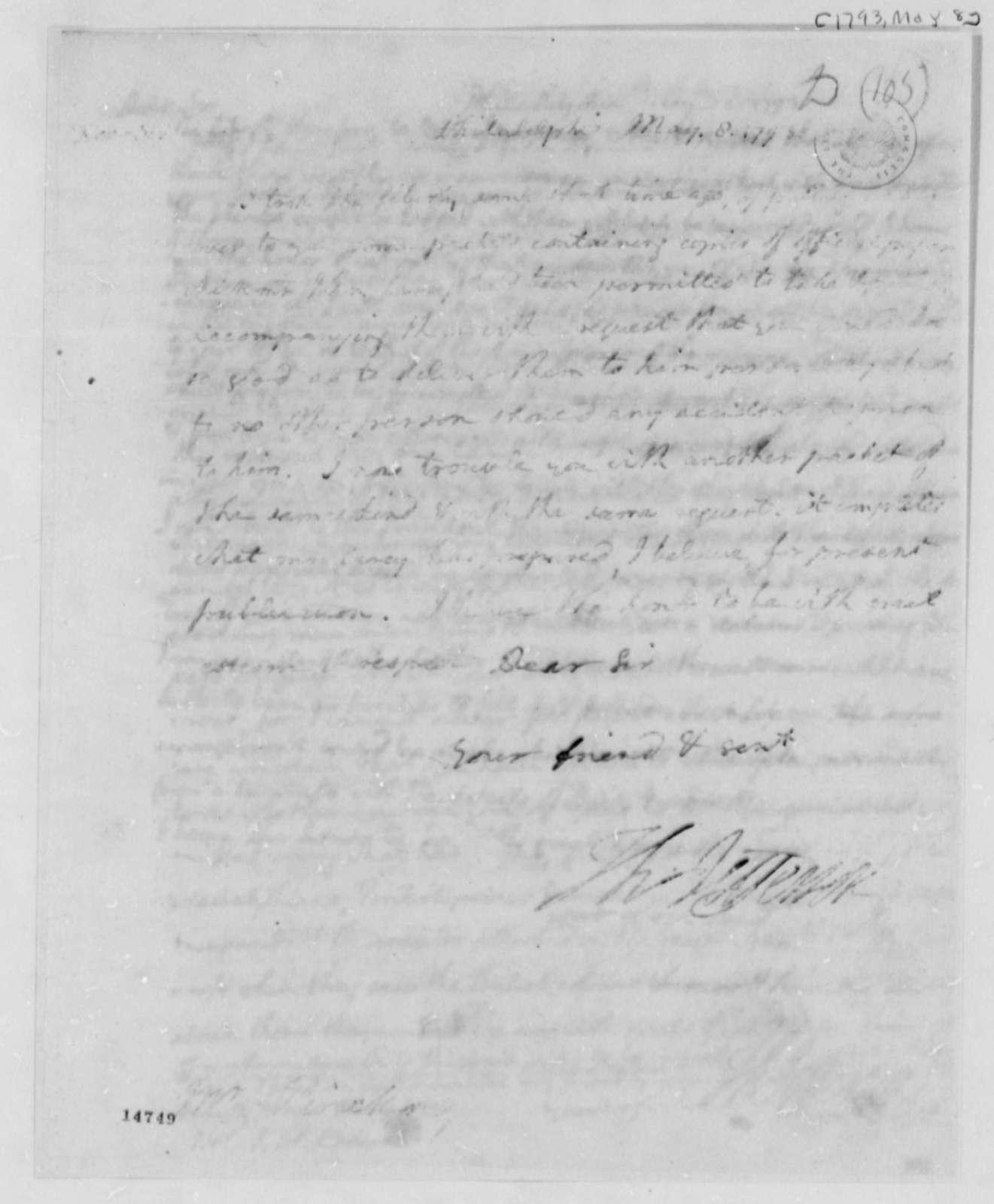Thomas Jefferson to Thomas Pinckney, May 8, 1793, with Copy