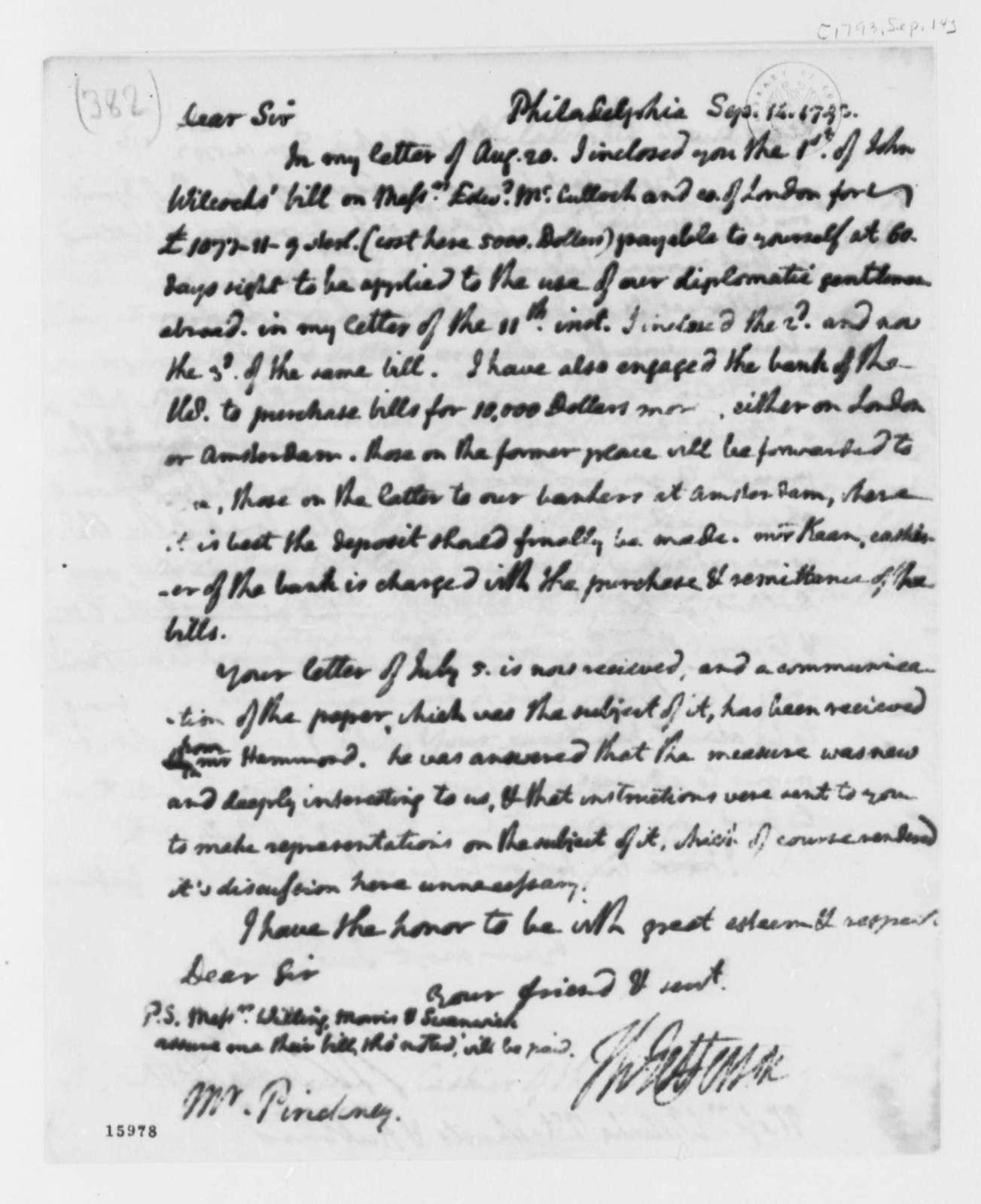 Thomas Jefferson to Thomas Pinckney, September 14, 1793