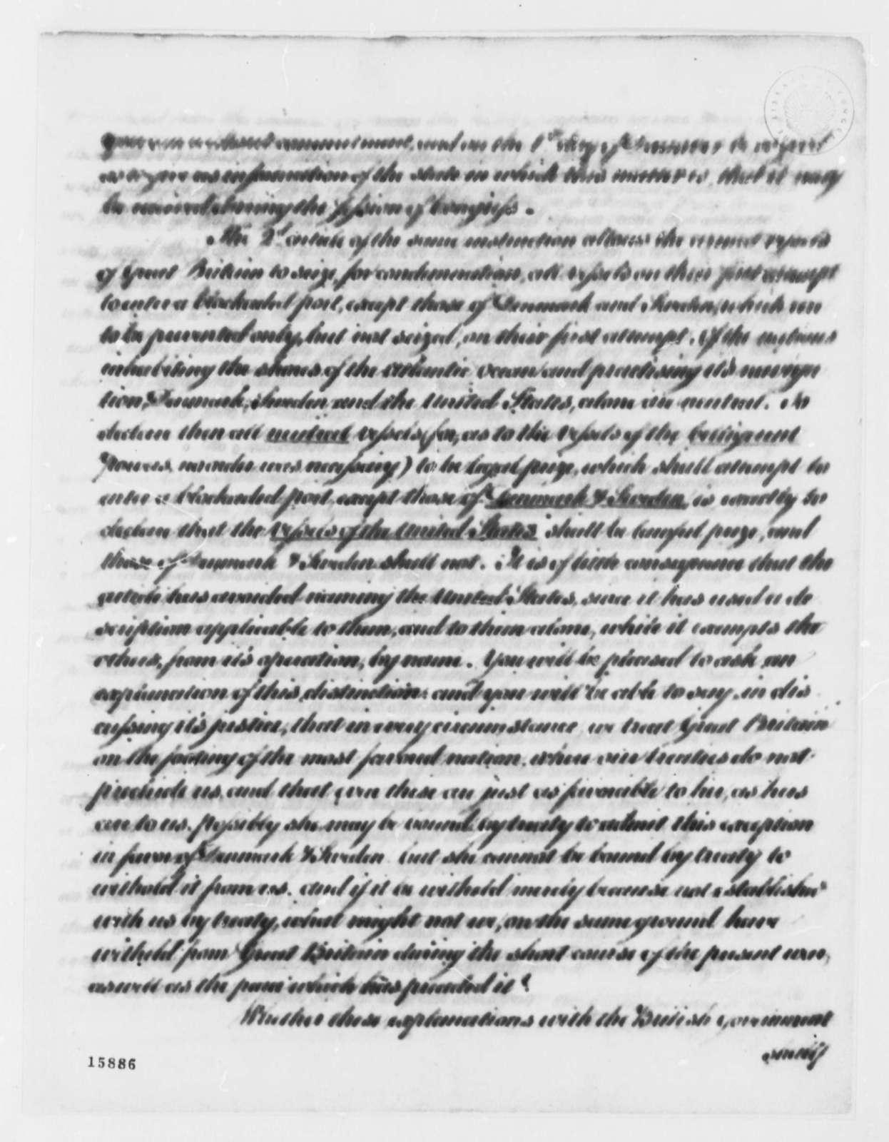 Thomas Jefferson to Thomas Pinckney, September 7, 1793, with Copy