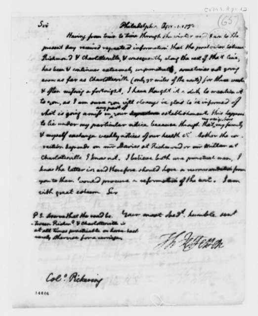 Thomas Jefferson to Timothy Pickering, April 1, 1793