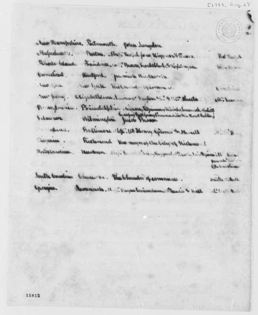 Thomas Jefferson to U. S. Merchants, August 27, 1793, Transmittal and List
