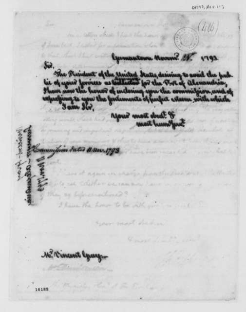 Thomas Jefferson to Vincent Gray, November 11, 1793, Commission