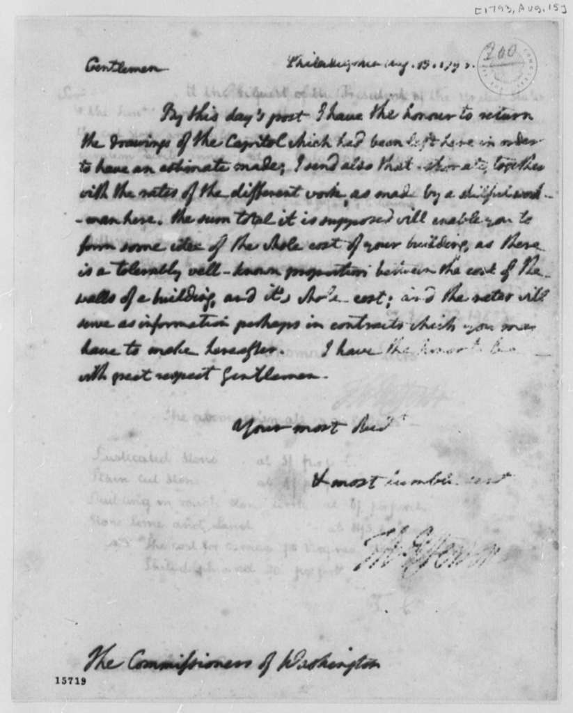 Thomas Jefferson to Washington, D.C., Commissioners, August 15, 1793, Estimate