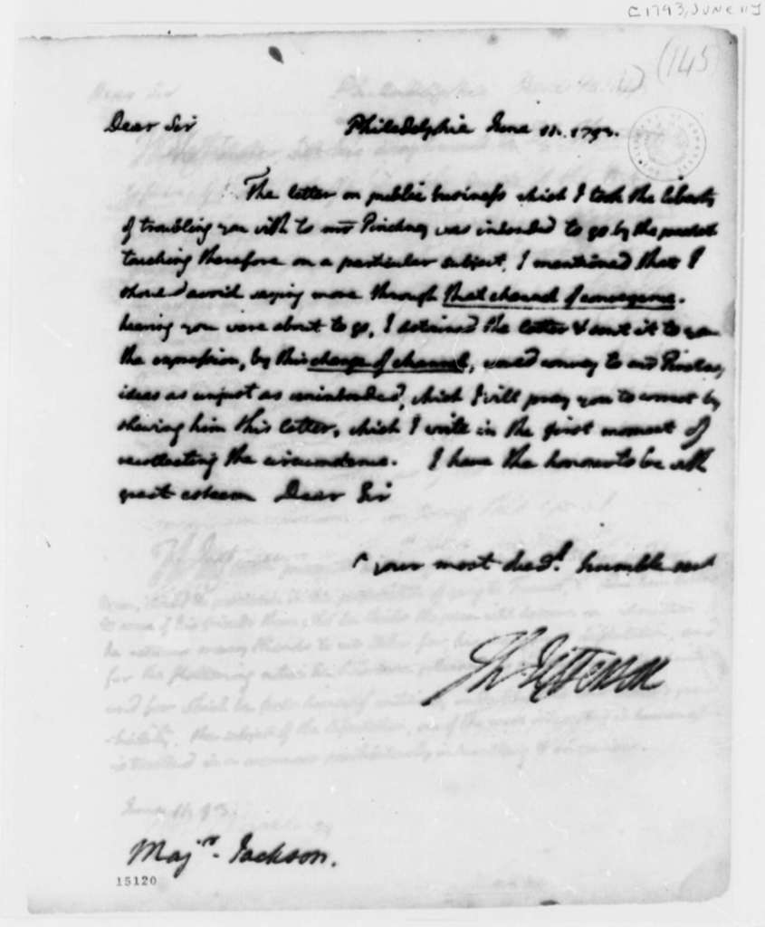 Thomas Jefferson to William Jackson, June 11, 1793