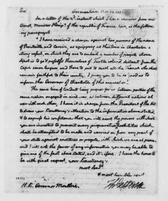 Thomas Jefferson to William Moultrie, November 13, 1793