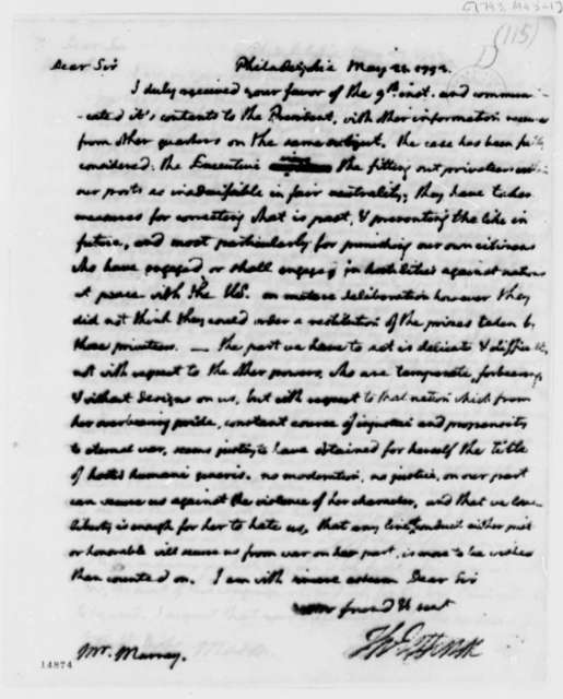 Thomas Jefferson to William Murray, May 21, 1793, with Copy