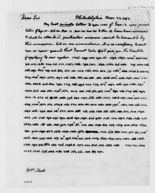 Thomas Jefferson to William Short, March 23, 1793, Mostly in Cypher