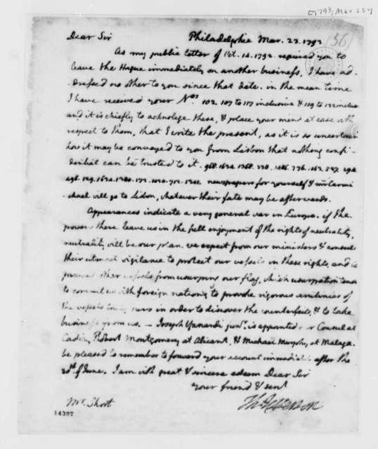 Thomas Jefferson to William Short, March 23, 1793, Transcription unencoded