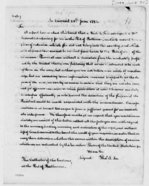 Thomas Sim Lee to Port of Baltimore Collector of Customs, June 20, 1793