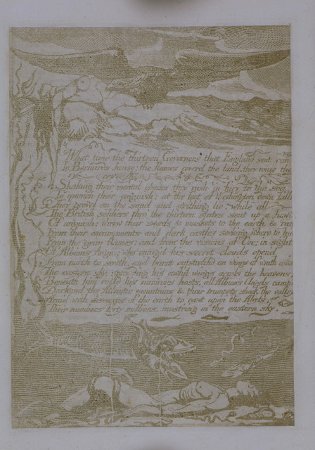 """Three cancelled plates from """"America, a prophecy."""" Three unique plates with pencil corrections by Blake, bound in with six other plates from America, a prophecy."""