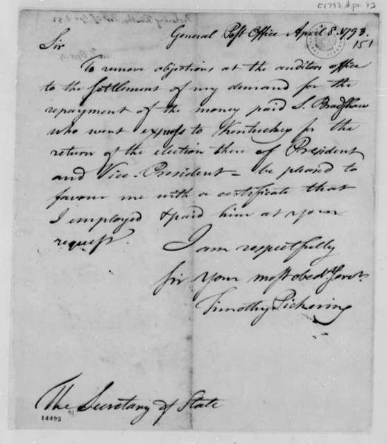 Timothy Pickerning to Thomas Jefferson, April 8, 1793