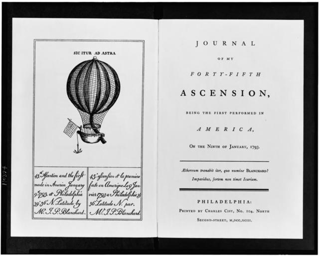 [Title page and frontispiece to Jean-Pierre Blanchard's Journal of my forty-fifth ascension..., showing a balloon with a man holding an American flag]