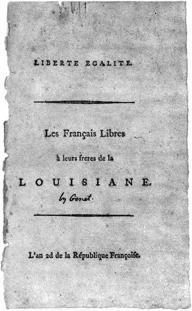 "Title page, with no illus., of Edmond Charles Edouard Genet, Liberté Egalité (""By Genet"" in Jefferson's Hand)"